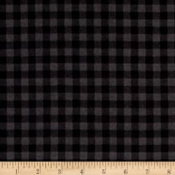 Kaufman Burly Beavers Flannel Check Smoke Fabric