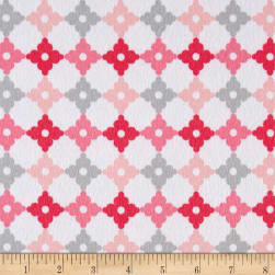 Kaufman Cozy Cotton Flannel Geo Plaid Pink Fabric