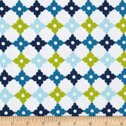 Kaufman Cozy Cotton Flannel Geo Plaid Marine Fabric