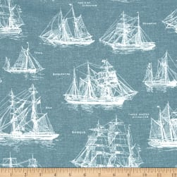 Kaufman Down By The Sea Ships Slate Fabric