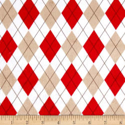 Minky Silly Monkey Argyle White Fabric
