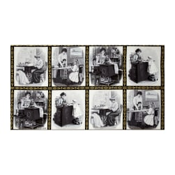 Kaufman Sewing With Singer Metallic Scene Blocks 24'' Panel  Grey Fabric