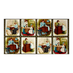 Kaufman Sewing With Singer Metallic Scene Blocks 24'' Panel Antique Fabric
