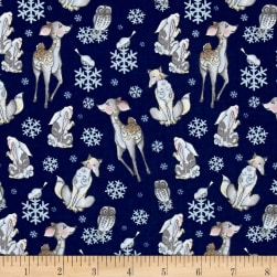 Jim Shore Woodland Tossed Animals Blue Fabric