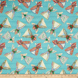 Jim Shore Angel Toss Aqua Fabric
