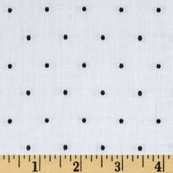 Kaufman Sailors Cotton Dobby Dots White