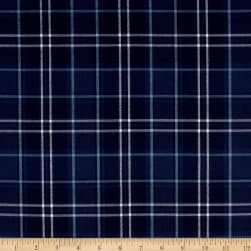 Kaufman Indigo Plaid Shirting Navy Twill Fabric