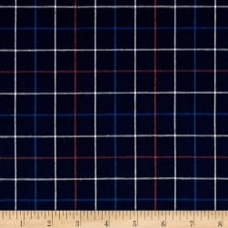Kaufman Indigo Plaid Shirting Red Fabric