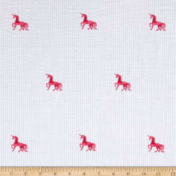 Kaufman Seersucker Embrioderies Unicorn White Fabric