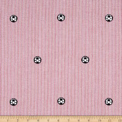 Kaufman Seersucker Embrioderies Soccerball Red Fabric