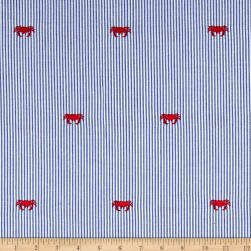 Kaufman Seersucker Embrioderies Crab Royal Fabric