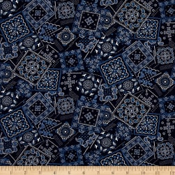 Kaufman Sevenberry Lawn Bandana Patch Navy Fabric