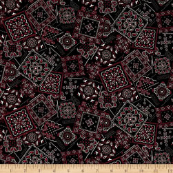 Kaufman Sevenberry Lawn Bandana Patch Black Fabric