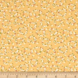 Kaufman Sevenberry Petite Fleurs Flower Circle Maize Fabric