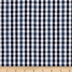 Kaufman Indigo Seersucker Plaid Check Navy Fabric