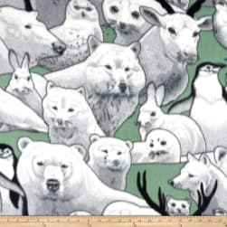 Polar Fleece Print Artic Friends Teal Fabric