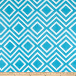 Polar Fleece Print Diamond Tile Turquoise