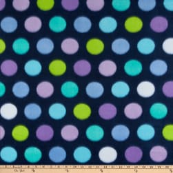 Polar Fleece Print Fun Dot Navy Fabric