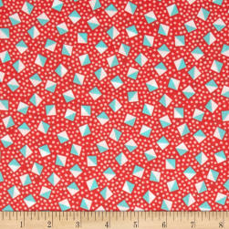 Kaufman London Calling Lawn Diamond Dot Coral Fabric