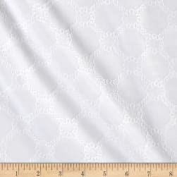 Kaufman Rebecca Embroidered Poplin Chained Circles White Fabric