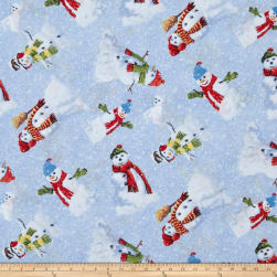 Winter's Eve Snowmen Toss Light Blue Fabric