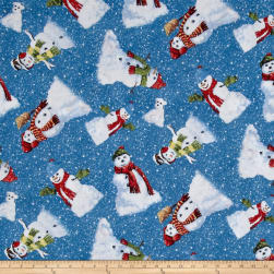 Winter's Eve Snowmen Toss Dark Blue Fabric