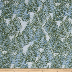 Winter's Eve Trees Allover Light Blue Fabric