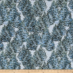 Winter's Eve Trees Allover Dark Blue Fabric