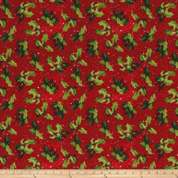 Winter's Eve Holly Toss Red Fabric