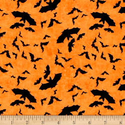 Come Sit A Spell Bats Allover Orange Fabric
