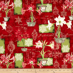 Christmas In Bloom Large Allover Red Fabric