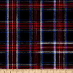 Yarn Dyed Flannel Plaid Navy Red Fabric