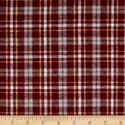 Yarn Dyed Flannel Plaid Burgundy Fabric