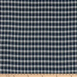 Yarn Dyed Flannel Plaid Green Navy White Fabric