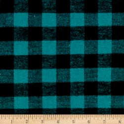 Yarn Dyed Flannel Check Green Black Fabric