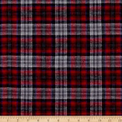 Yarn Dyed Flannel Plaid Red Gray Fabric