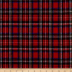 Yarn Dyed Flannel Plaid Red Blue White Fabric
