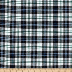 Yarn Dyed Flannel Plaid Blue Navy White Fabric