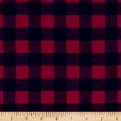 Yarn Dyed Flannel Check Red Black Fabric