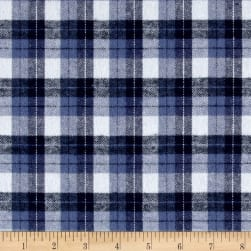 Yarn Dyed Flannel Plaid Blue White Fabric