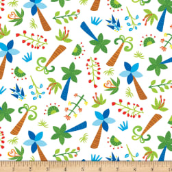 Dandy Dinos Trees Allover White Fabric