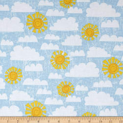 Dandy Dinos Crackle Sky Light Blue Fabric