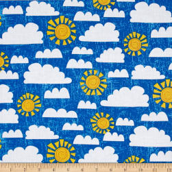 Dandy Dinos Crackle Sky Dark Blue Fabric