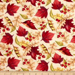 Thankful Harvest Leaves Tan Fabric