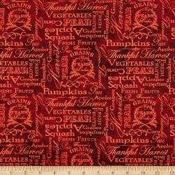 Thankful Harvest Words Red Fabric