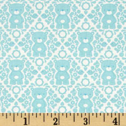 Riley Blake Teddy Bear's Picnic Teddy Damask Aqua