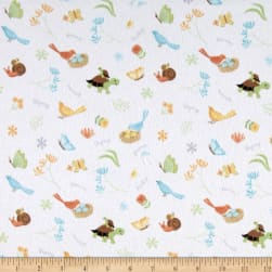 Sweet Meadow Flannel Critter Toss White Fabric
