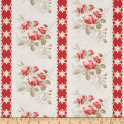 Tanya Whelan Winter Garden Ticking Red Fabric