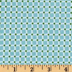 Riley Blake Backyard Roses Squares Blue Fabric