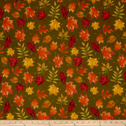 Penny Rose Autumn Hue Leaves Green Fabric